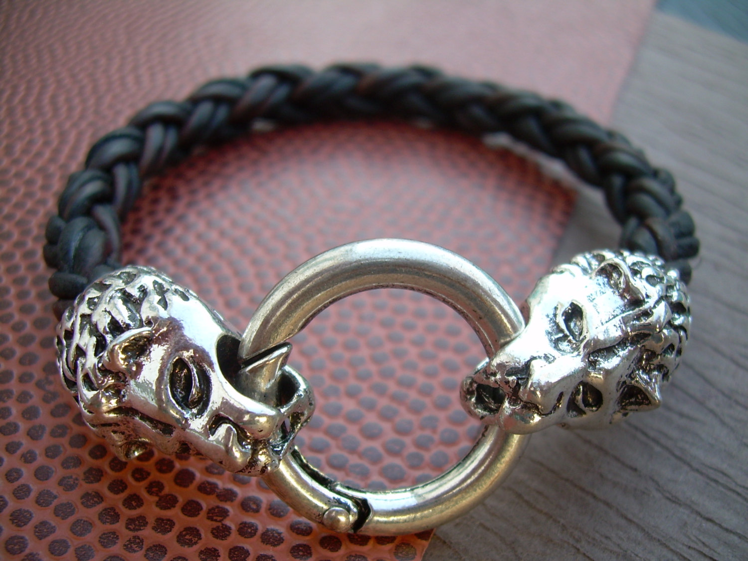 Mens Braided Leather Bracelet, Natural Antique Brown, With Lions Head  Toggle Clasp, Mens