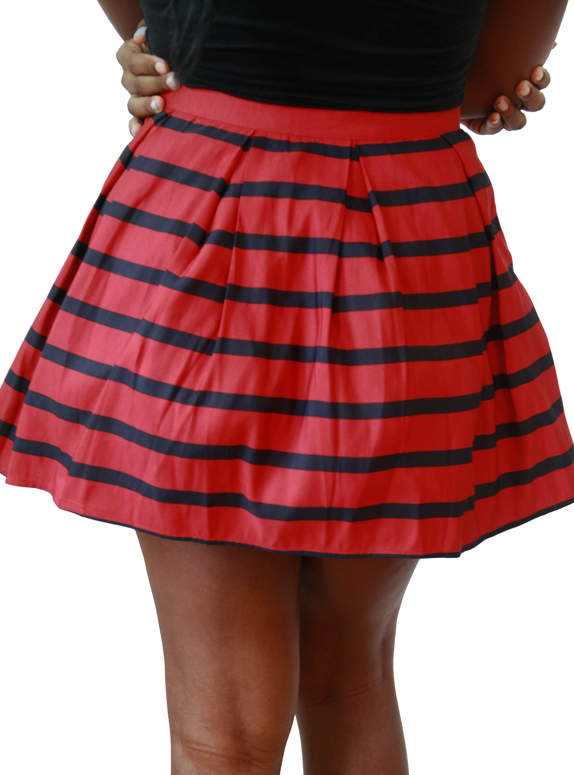 This swishy, knee-length nautical-inspired skirt is crafted in our popular ponte knit fabric (a customer favorite, thanks to its thick, stretchy and flattering nature) .