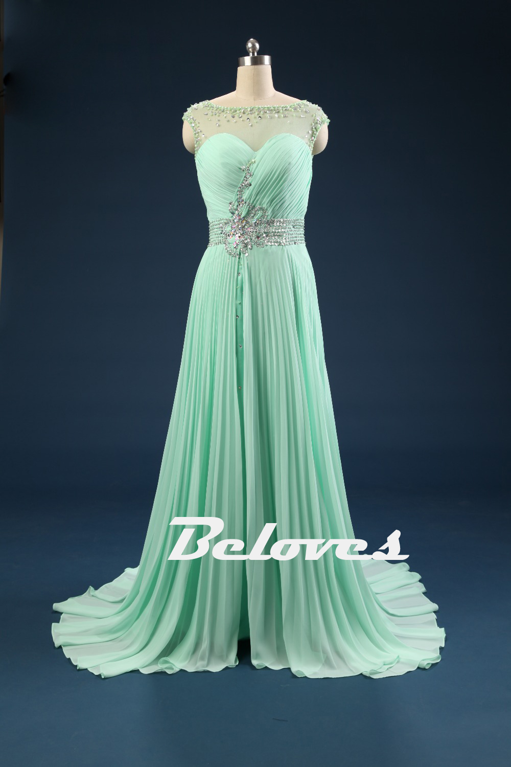Light Green Chiffon Pleated Prom Dress With Keyhole Back · Beloves ...