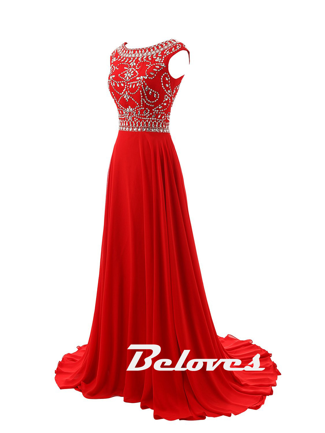 Red Cap Sleeves Beaded Long Gown With Boat Neckline · Beloves ...