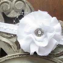 Sweet White Ruffles headband