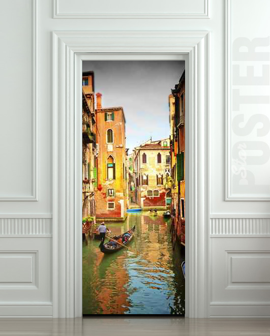 Wall door sticker venice river gondola city travel mural for Door wall mural