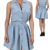 In S or M - light blue denim sleeveless button-down gathered collar dress