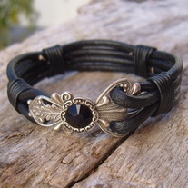 Black Leather Cuff Bracelet with Silver Filigree and Jet Crystal