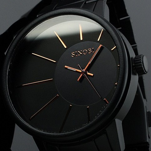 Quartz Watch Men Luxury Brand Black Stainless Steel Sports