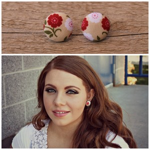 Red Floral Earrings