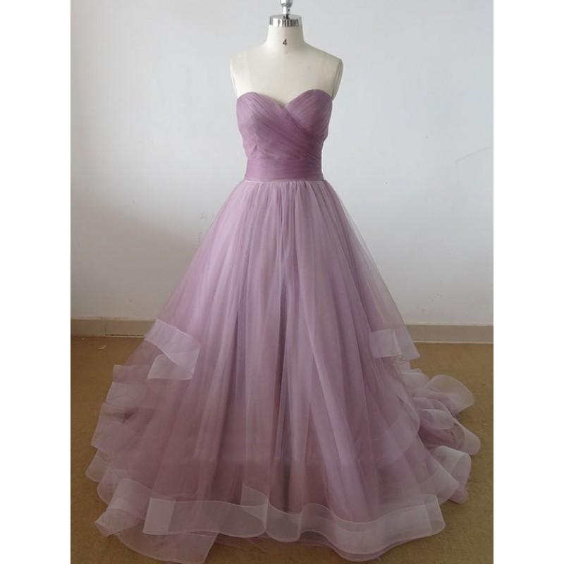 long prom dress, lilac prom dress, prom dress, A-line prom dress ...