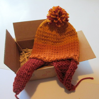New! shiny hand-knit hat - 100% wool