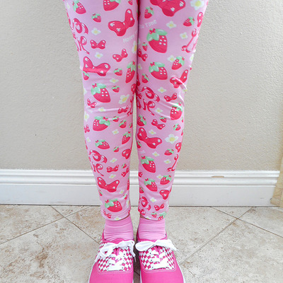 Strawberry ribbon leggings made to order