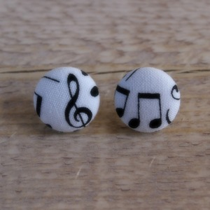 Music notes Button Earrings