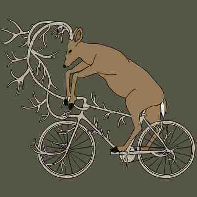 Deer riding it's antler bike 5x7 print