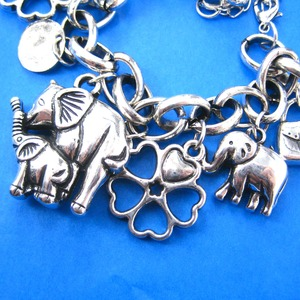 Elephant Mother and Baby Shaped Charm Bracelet in Silver | Animal Jewelry