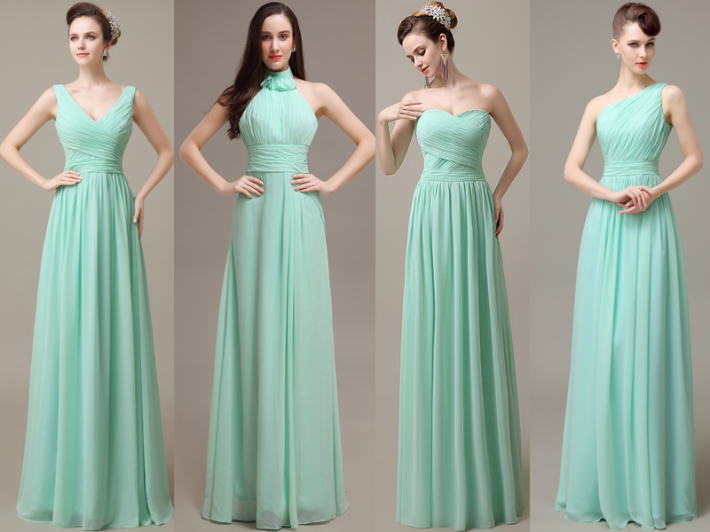 Mint bridesmaid dresses cheap bridesmaid dresses chiffon for Cheap chiffon wedding dresses