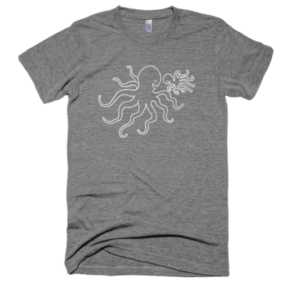 Athletic grey octopus dad & baby tee, made in usa