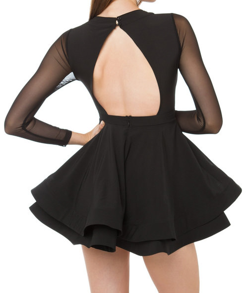 Outletpad Black Long Sleeve Puff Skater Dress Online Store
