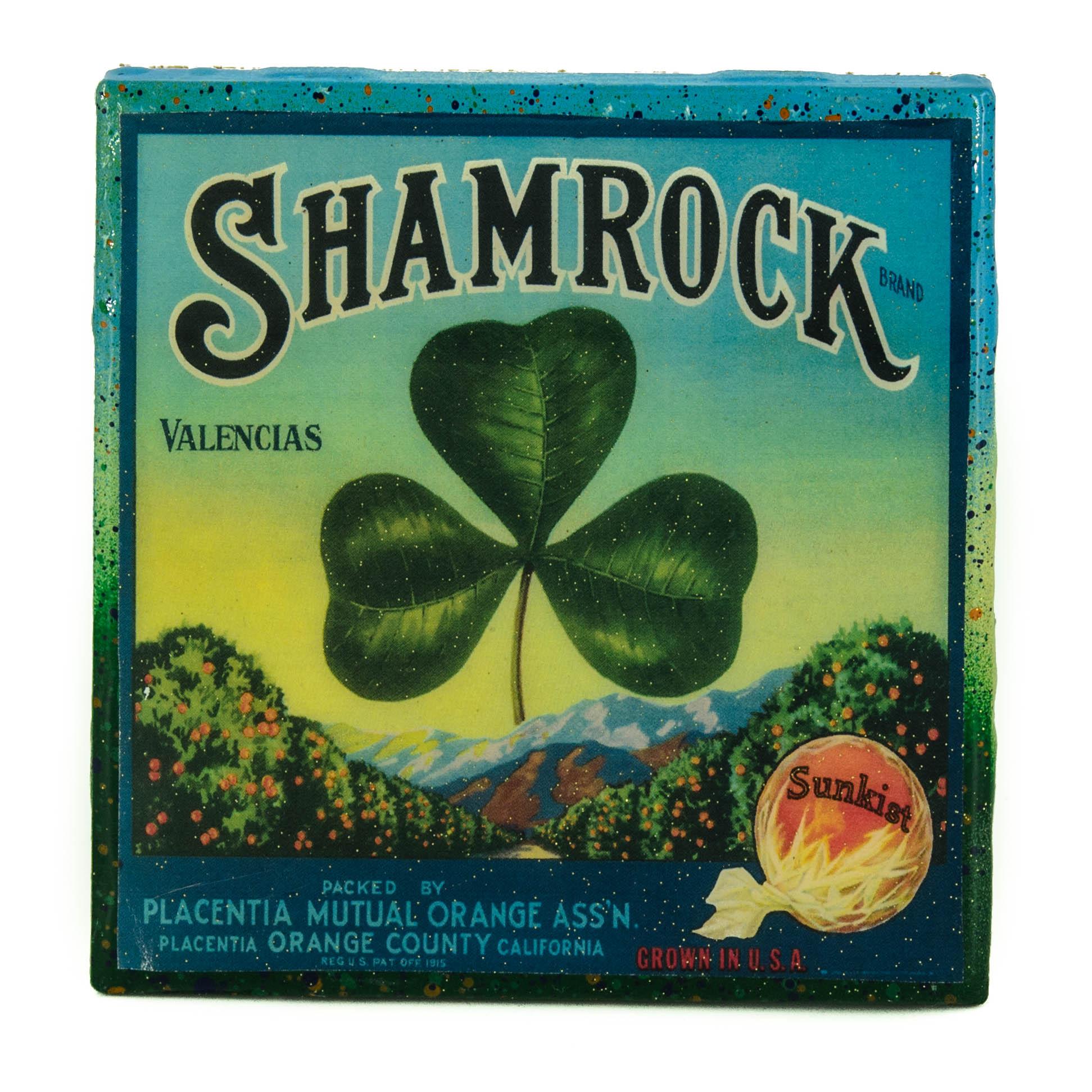 Uncategorized Shamrock History stella divina shamrock vintage citrus crate label handmade recycled tile coaster thumbnail 1