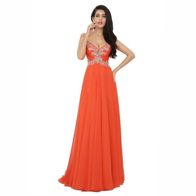 Evening Dresses Orange V Neck Formal Dress Celebrity Beaded Prom