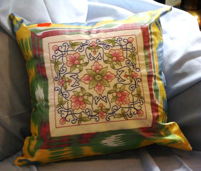 Embroidered pillowcase (multi-colored) from ferghana valley in uzbekistan