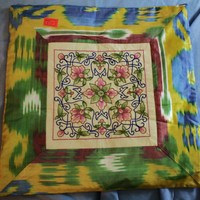 Embroidered Pillowcase (multi-colored) from Ferghana Valley in Uzbekistan - Thumbnail 1