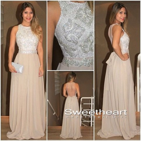 Sweetheart girl a line round neck sequin chiffon for Around the neck wedding dresses