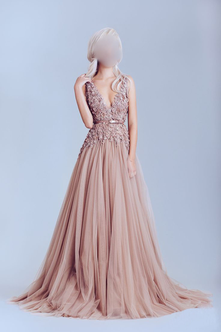 Dusty pink prom dress, tulle prom dresses, off shoulder lace prom ...
