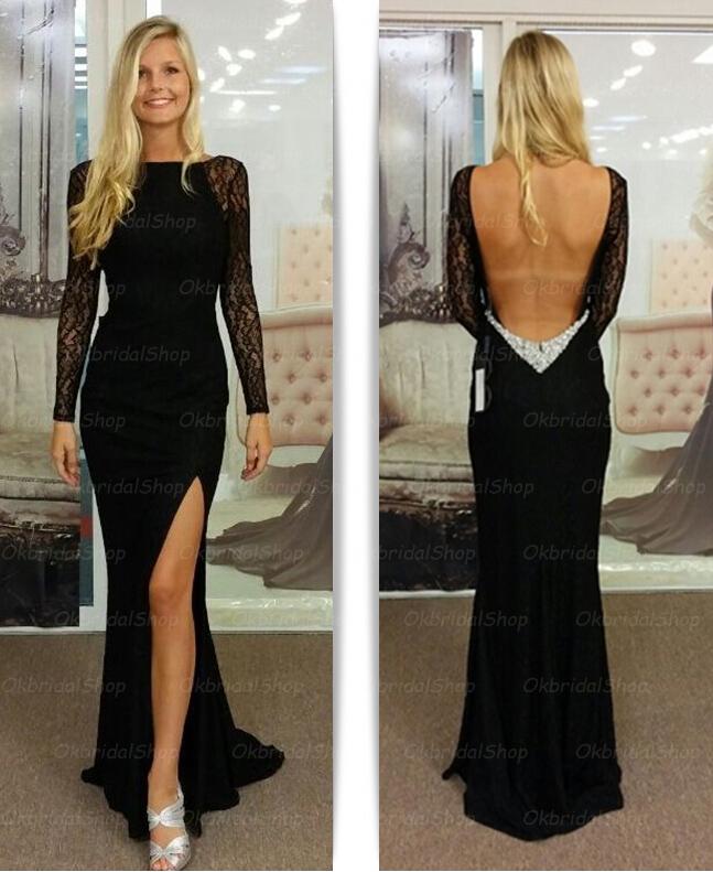 Long sleeve prom dress, black prom dress, backless prom dress, 2015 ...