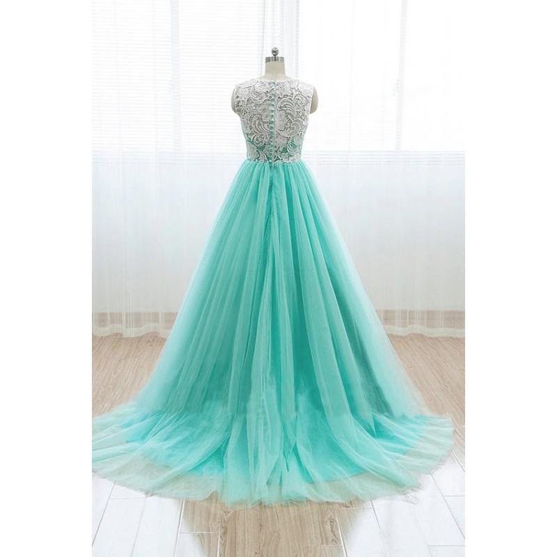 mint lace prom dress, A line prom dress, long prom dress, 2015 prom ...
