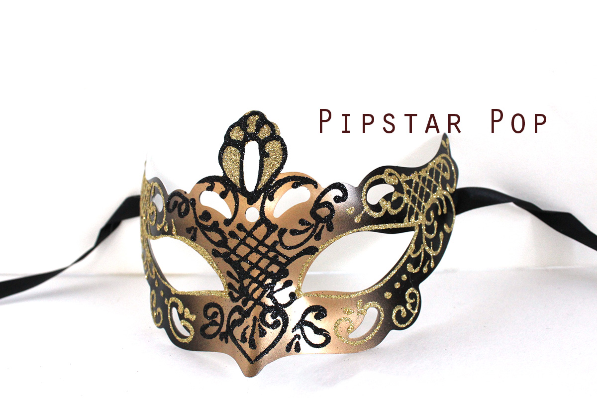 Golden Bronze Embossed paper clay Glitter mask (Allure Mask 01 ...