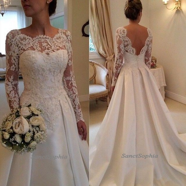 Long Sleeves Lace Wedding Dresses,Long Sleeves Lace V-back Wedding ...