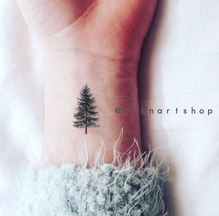 4pcs Tiny Pine Tree Tattoo Christmas Gift Small