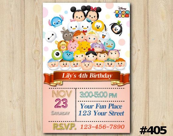 Tsum tsum invitation birthday party custom printable 405 diy tsum tsum invitation birthday party custom printable 405 stopboris Image collections