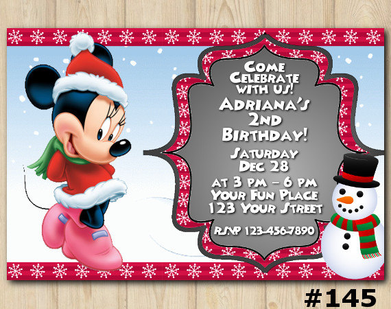 minnie mouse christmas invitation birthday custom printable file diy145