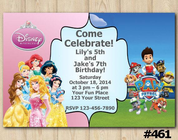 Joint Twins Invitation Disney Princess