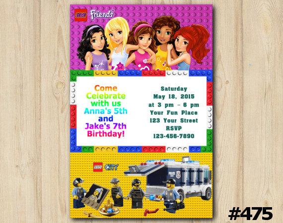 LEGO TWINS INVITATION Lego Friends City Police Bday Joint Twins Invitation