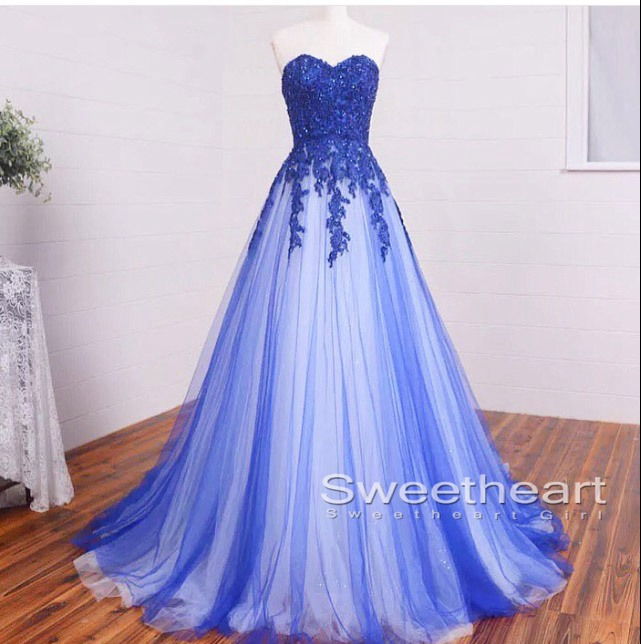 Sweetheart Girl | Sweetheart A-line Lace Tulle Long Prom Dresses ...