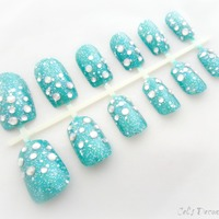 ocean blue rhinestone nails summer nail art 3d japanese