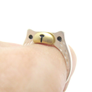 Teddy Bear Face Shaped Animal Ring in Silver with Textured Details