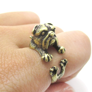 Detailed Bulldog Dog Shaped Animal Wrap Ring in Bronze | Size 6 to 9