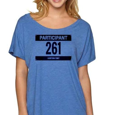 "Feminist tshirt: ""the runner"" shirt by fourth wave feminist apparel (royal blue) inspired by kathrine switzer"
