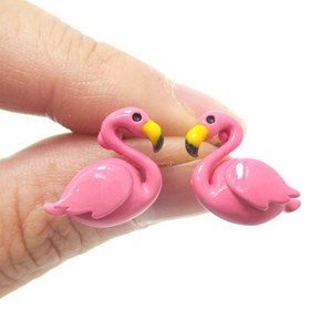 Small Flamingo Shaped Enamel Stud Earrings in Pink
