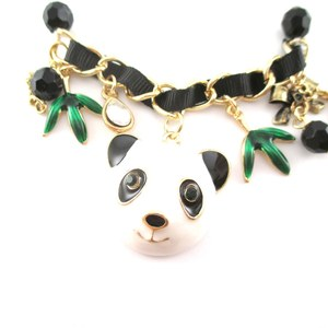 Panda Bear and Bamboo Enamel Charm Bracelet with Beaded Detail
