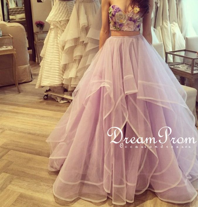 Pretty Lavender Two Pieces Sweetheart Tulle Long Prom Dress,Formal ...