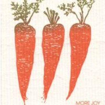 Carrots, finnish dish towel (sponge cloth)