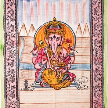 Ganesh Ganesha Indian Lotus Flower Hindu Hippie Wall Hanging