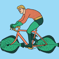 Aquaman riding bike with fish wheels, 5x7 print