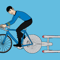 Spock riding bike powered by the Enterprise, 5x7 print