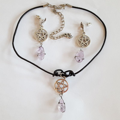 Black leather cord choker pentagram charm clear amethyst wired crystal necklace earring set witchy