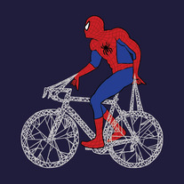Spider Man on bike, 5x5 print