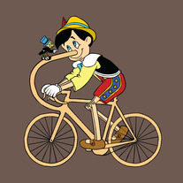 Pinocchio riding bike made of his own nose, 5x5 print