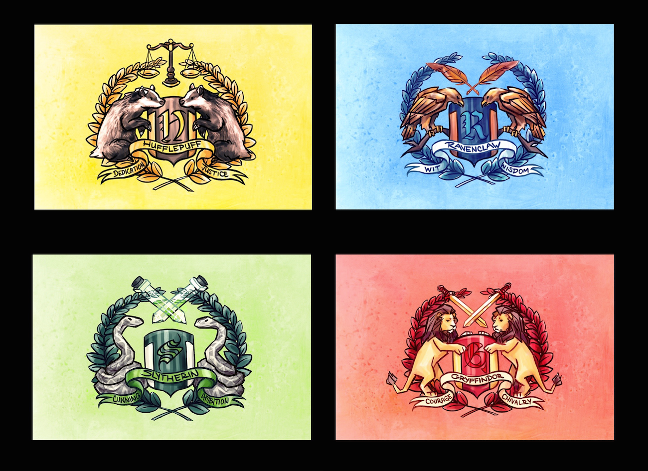 Small Harry Potter House Crest Prints Becomeartist